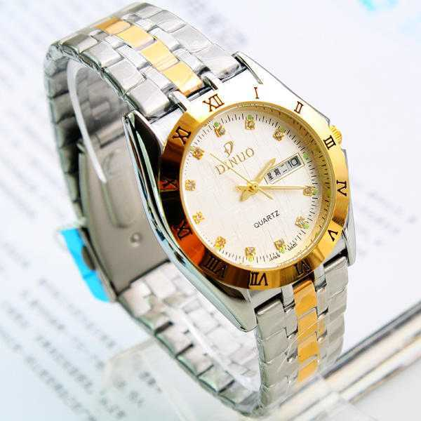high-grade Di Novo double calendar diamond scale precision waterproof business strip watch 150288(China (Mainland))