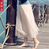 2013 summer pleated gauze skirt puff skirt bust skirt beach dress full dress women's
