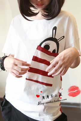 Flower pot stripe pocket little bees loose casual sweet short-sleeve T-shirt(China (Mainland))