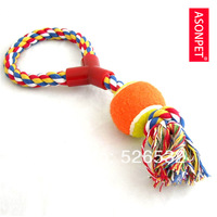 pet toys brushing rope cotton rope toy a rope tennis ball ,free shipping