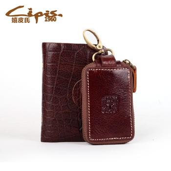 Genuine leather men's bank card case car remote control 9609 multifunctional 9612 key wallet set