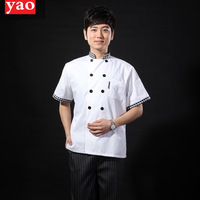 [10pcs/free ship] Cs13-20 short-sleeve cook suit plaid collar double breasted white tooling kitchen clothes summer  wholesale