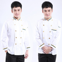 [10pcs/free ship] cook suit long-sleeve cook clothes pastry work wear  Italian Restaurant  uniforms chef top [top only]