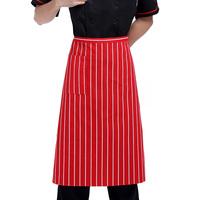 [20pcs/free ship] Red and white stripe work wear work aprons chef apron pocket  men's apron women's apron