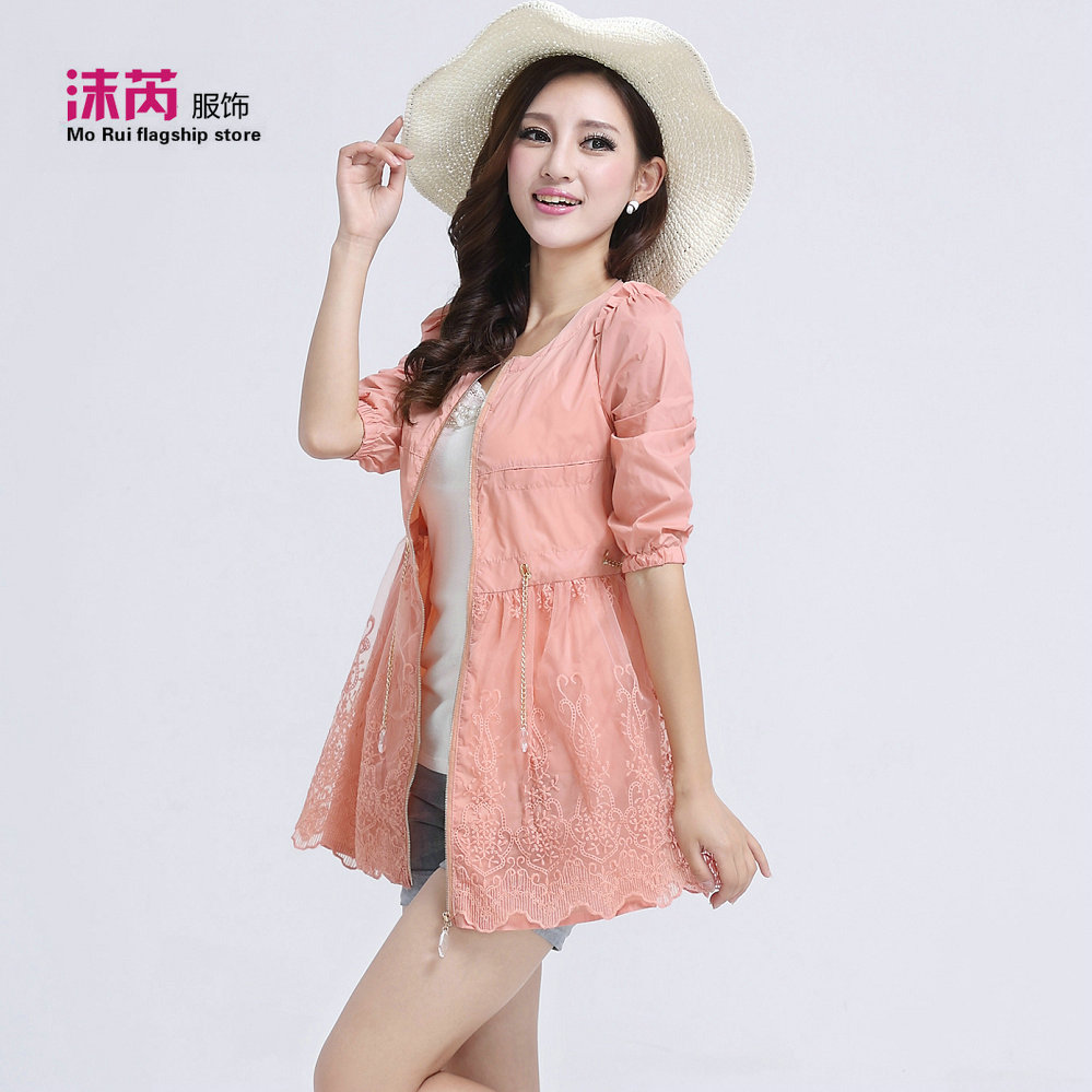 2013 summer slim lace decoration sun protection clothing shirt medium-long trench sun protection clothing(China (Mainland))