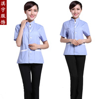 [10pcs/free ship] Summer work wear work wear cleaning service summer short-sleeve  Dorm administrators workwear [top only]