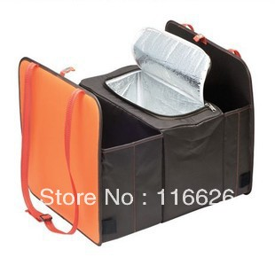 Free shipping hot car trunk cooler bag large volume fabric storage bag car refrigerator thermal w/ ice foldable 3 layers pack(China (Mainland))