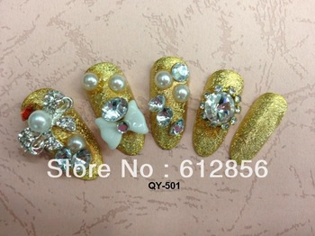 3D design flowers elegant false nail 24pcs/set,artificial nails the bride wedding party nails