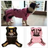 Large big dog fleece coat four legged golden retriever winter clothes monkey patch pink brown SZ 7 8