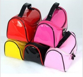 Free shipping,Patent Leather Candy Color Cosmetic Case Make Up Pouch Multy Function Storage Bags Handbag(China (Mainland))