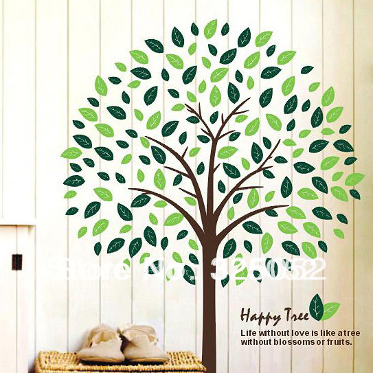 High quality!2013 New Happy tree 3D DIY Removable Art Vinyl Wall Stickers Decor Mural Decal(China (Mainland))