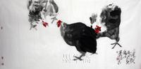 HUGE Free shipping Oriental asian Ink Brush Art Original Chinese painting100% handmade Ink wash painting  chooks 136x68cm WBS5