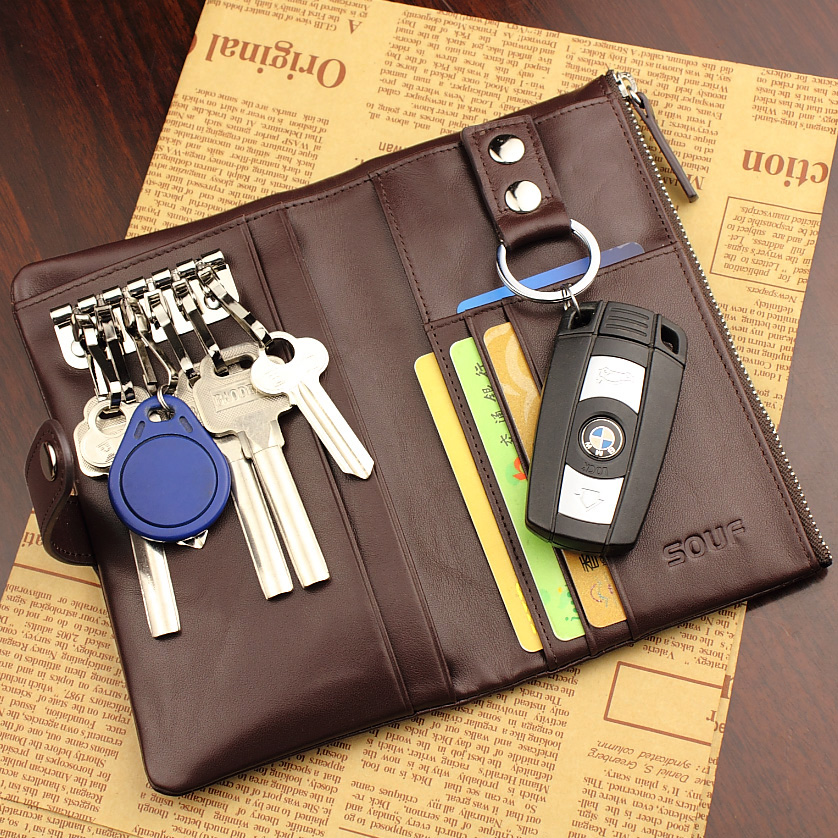 Multifunctional key wallet male genuine leather key cases car women's zipper key wallet long design coin purse card holder(China (Mainland))