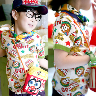 Hamburger french fries short-sleeve vest t-shirt 2013 summer male child baby children&#39;s clothing 4728(China (Mainland))