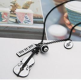 2013 New Fashion E4236 queer Jewelery violin keyboard notes multi-pendant necklace $10 Free Shipping(China (Mainland))