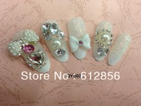 24pcs 3D Cat Design Acrylic Nail Art False Full Tips,CRYSTAL Nail ART False nails patch