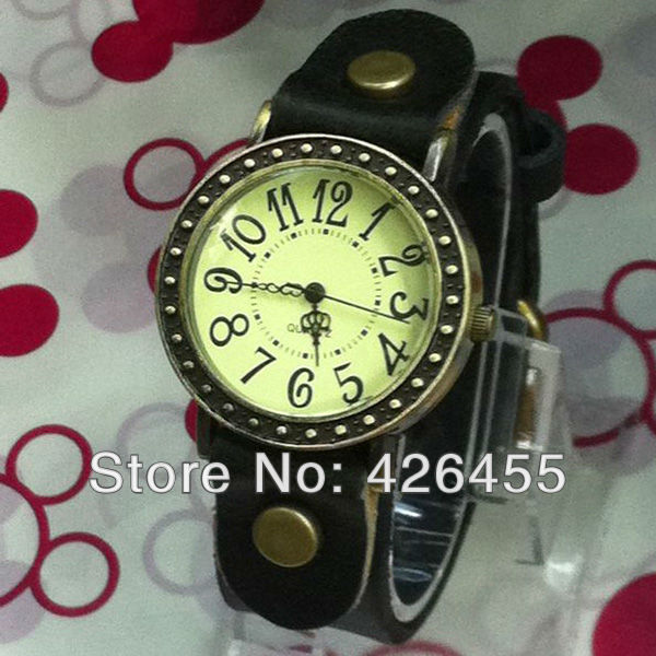 Free Shipping Fashion Vintage Punk Women Watchband Genuine Leather Quartz Wristwatches Cow Leather Watch with Big Number(China (Mainland))
