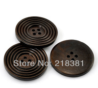 20PCs Free Shipping Dark  Coffee Brown Color 4 Holes Striped Round  Wood Sewing Buttons Scrapbook 38mm A00637
