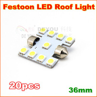 20pcs Free shipping  36mm  S8.5 9SMD 5050 Car  Festoon LED Dome Reading  Interior Light Bulb