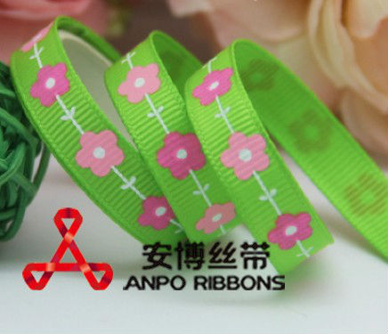 Free Shipping 100 yards 3/8&quot; 9mm green with cute flowers grosgrain ribbon hairbow wholesales ab(China (Mainland))