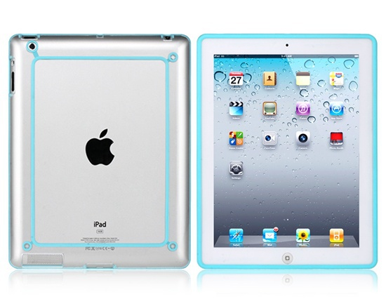 Vser PP Plastic Color Contrast Frame for iPad 2, New iPad, iPad 4 (Light Blue)(China (Mainland))
