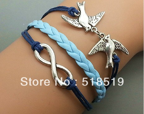 12PCS/LOT!Free Shipping!Wholesale Braided Multi-layer Blue Leather Wax Rope Ancient Silver Two Birds Unlimited Bracelet A-0189(China (Mainland))