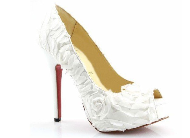 Free shipping! White wedding shoes, grace flower ladies leather bridal shoe, red sole shoes drop shipping!(China (Mainland))