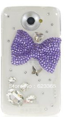 Asima Free Shipping Handmade Bling 3D Purple Bow Rhinestone Clear Hard Plastic Back Cover Case For HTC One X(China (Mainland))