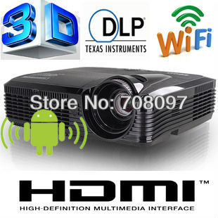 Hot selling !! Android 4.1 External Wifi Bluetooth 3D DLP intelligent projector with 4000ANIS lumens Brand 180W Osram lamp(China (Mainland))