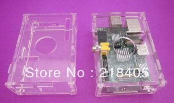 Free shipping 10sets 10pcs Transparent Raspberry PI size perfect shell case + 10x3pcs heatsink kit wholesale