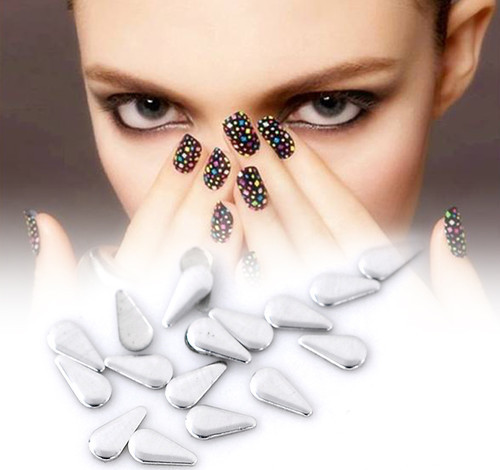 Free Shipping 10000pcs/lots Aluminium Tone Metallic Nail Art Decoration Studs Tips Metallic Nail Studs Drop 6mmx3mm (W02567g)(China (Mainland))