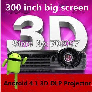 Android 4.1 DLP Portable 3D Projector 4000Lumens dlp link shutter 3D Multimedia Digital HD Beamer Projektor Proyector(China (Mainland))