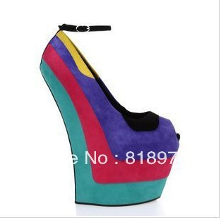 Gz high wedges,nightclub thick crust with fish head shoe, Europe and US style multi color sandals(China (Mainland))