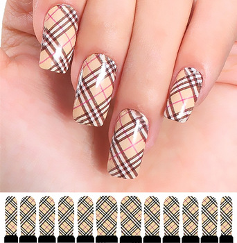 3 set wholesale  Popular Water transfer printing nail art stickers Khaki plaid styles   applique hot-selling