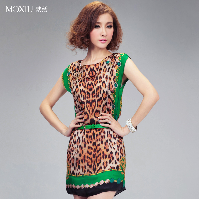 2013 o-neck short-sleeve belt leopard print silk print elegant slim one-piece dress female(China (Mainland))