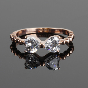 no Shipping 5pcs Wholesale 68 sweet elegant rose gold bow big zircon ring titanium gentlewomen pinky ring -jzX3(China (Mainland))