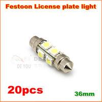 20pcs Free shipping  36mm  S8.5 8SMD 5050 Car  Festoon LED License Plate Light  LED Light Bulbs