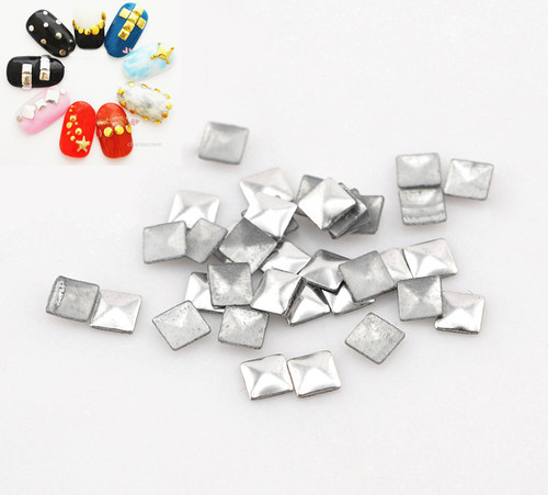 Free Shipping 10000pcs/lots Aluminium Tone Metallic Nail Art Decoration Studs Tips Metallic Nail Studs Drop 3x3mm (W02567c)(China (Mainland))