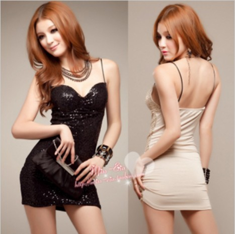 dresses 2013 Japan and South Korea Women's new sexy nightclub loaded SEXY spaghetti straps flash sequined st(China (Mainland))