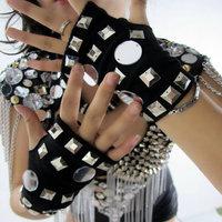 Rivets lens reflective gloves dj female singer all-match costume costumes ds
