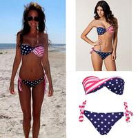 Newest Sexy Stars Stripes USA Flag Padded Bandeau Bikini Swimwear Swimsuit