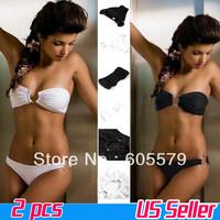 2PCS Lady Sexy Strapless Swimsuit Swimwear Bathing Suit Bikini Beach Sets