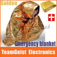 2pcs/lot Survival Rescue Blanket Waterproof First-Aid Foil Thermal Emergency Blanket Golden Silver Double-Sided Free Shipping