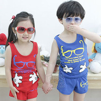 2013 Summer Korean version of the new glasses hug Boys Girls Children's vest shorts suit TZ-0622