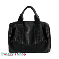 Hottest Rivet Handbag Black PU Leather Tote bag wang Boston Bag Fashion Women's Rock Roll Diego Handbag Free Shipping