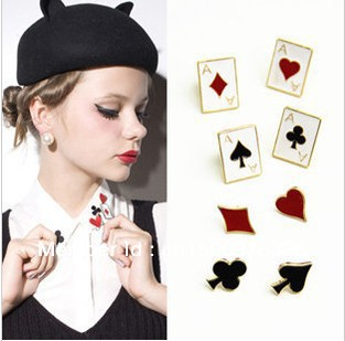 Min order $15 ( can mix order ) free shipping Hot fashion costume jewellery The poker suit collar flower Brooch(China (Mainland))