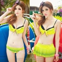 Neon Collection Polka Dot Push Up 3 Pcs Bikini Set Swimsuit Bathing Suit