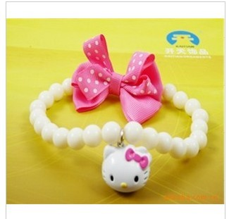 Pet accessories dog necklace bell teddy collar pink bow white candy beads kt cat pendant(China (Mainland))