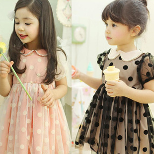 2013 summer female child short-sleeve dot gauze pearl bordered one-piece dress skirt