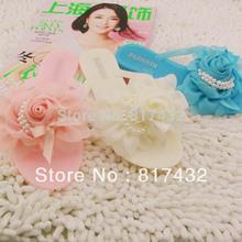 Free shipping super cute summer women's jelly slippers chiffon silk scarf pearl rose flip flops sandals beauty sweet sandals